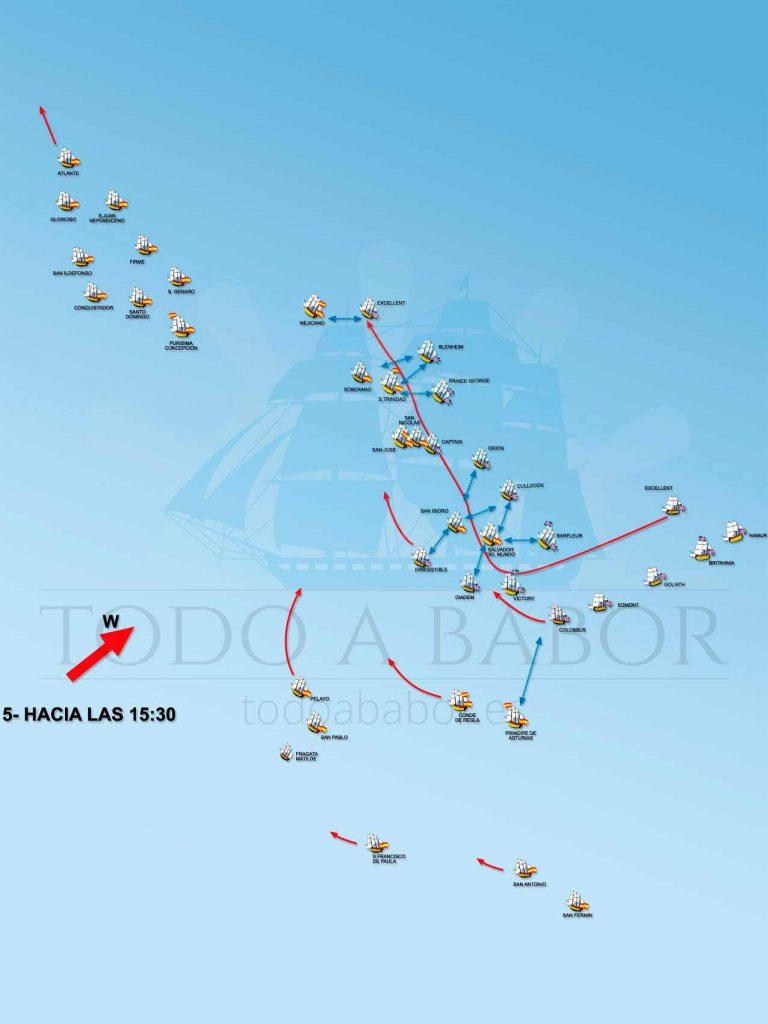 Situación de la batalla a las 15:30 horas.