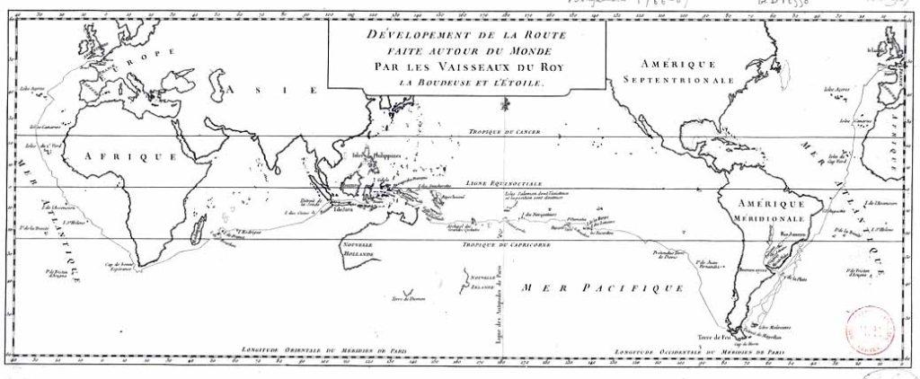 Mapa de la expedición francesa de Bougainville