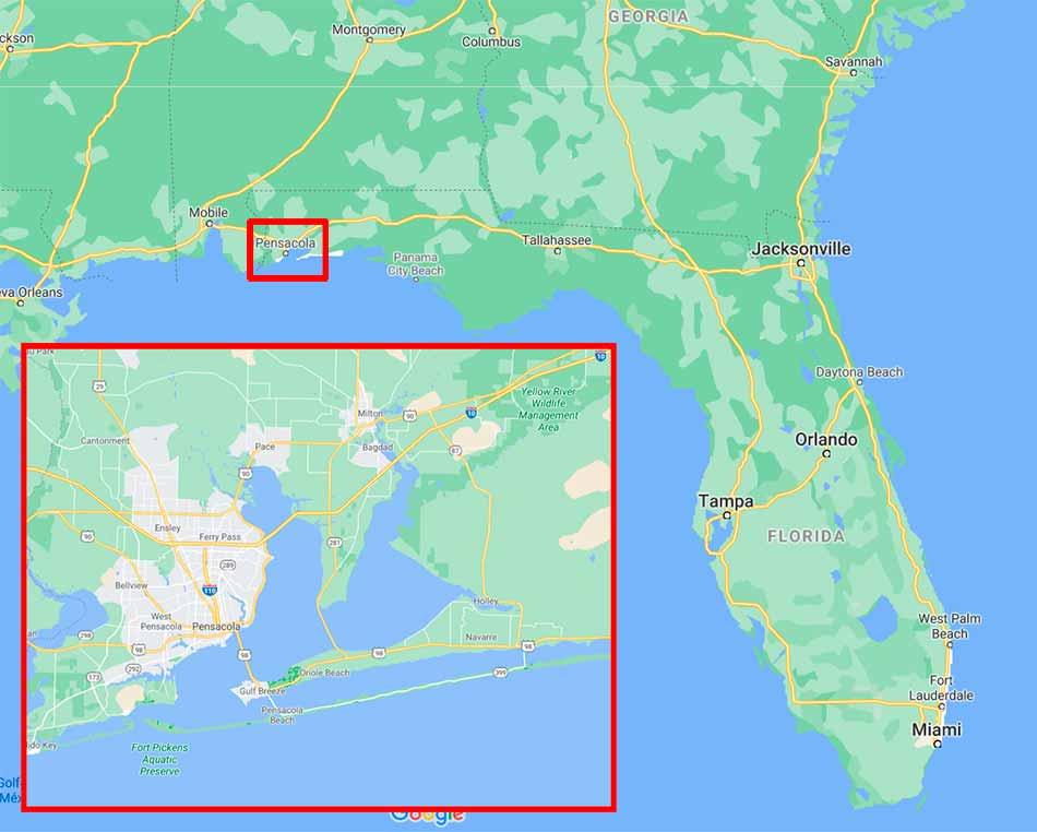 Mapa con la ubicación de Pensacola (Florida) y una ampliación de la ciudad actual