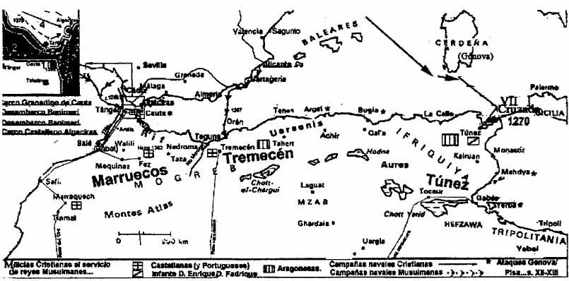 Mapa geopolítico del sur de la Península y el Magreb.