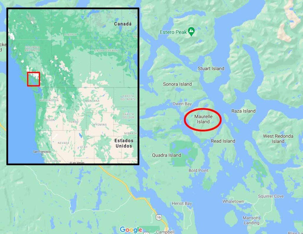 Mapa de la Isla Maurelle en la Columbia Británica de Canadá.