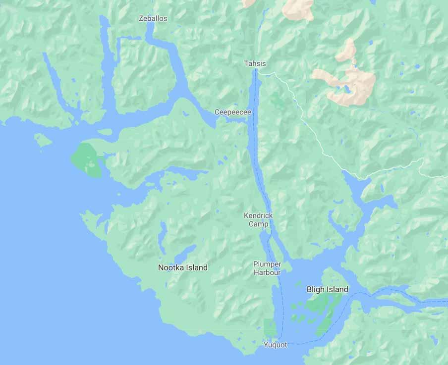 Mapa de la isla de Nutka, o Nootka y sus alrededores.