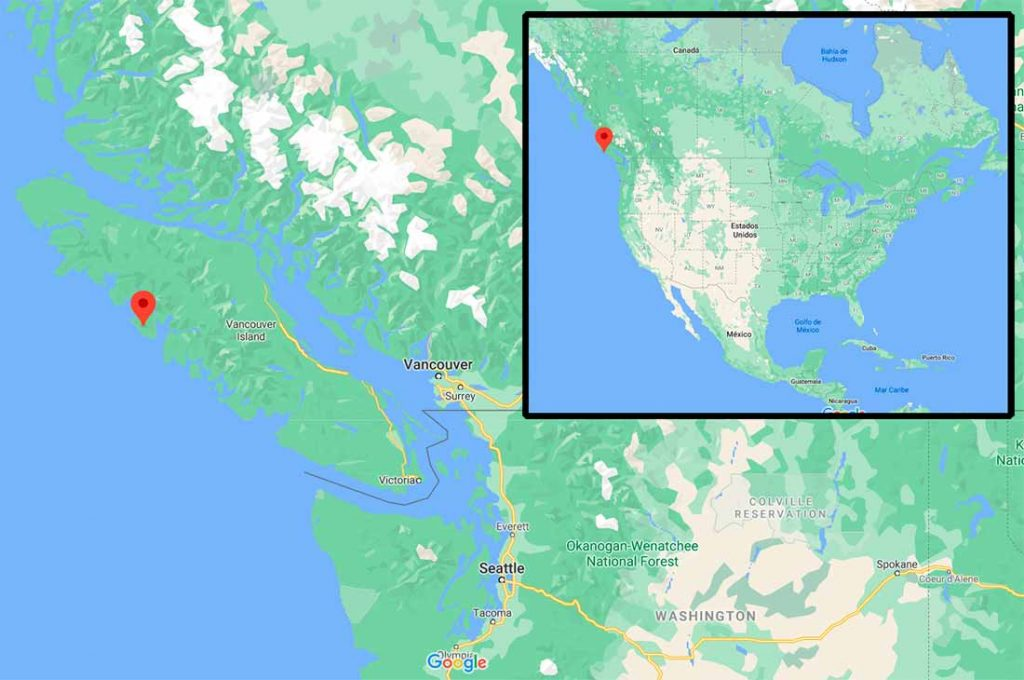 Mapa con la situación de la isla de Nutka, o Nootka, en la Isla Vancouver, Columbia británica, Canadá. Google Maps.