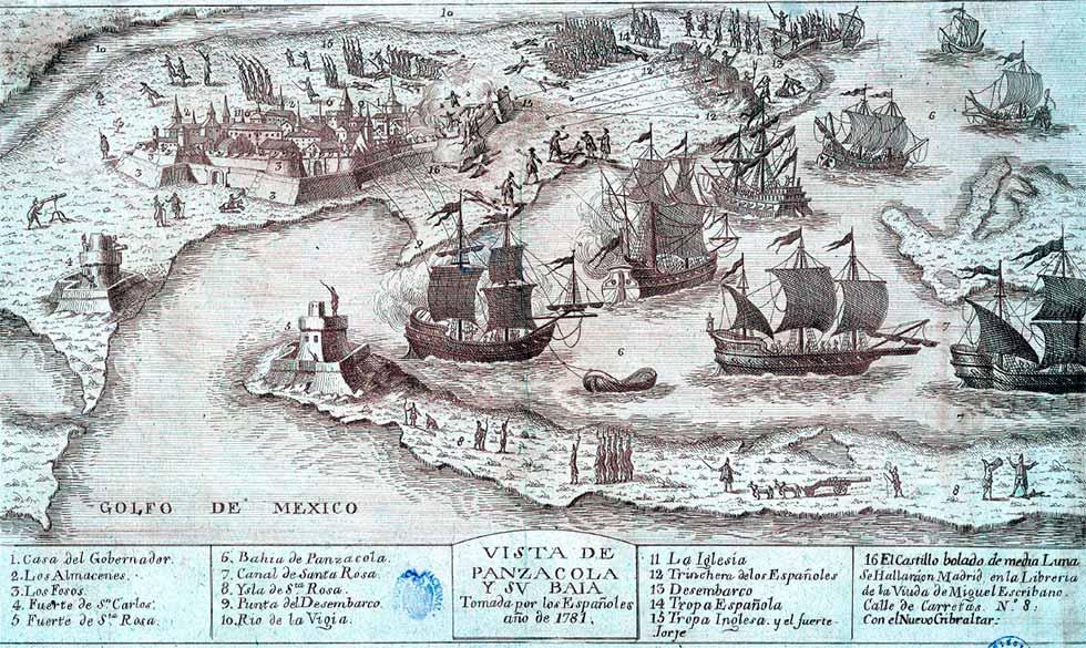 Mapa Pensacola en 1781
