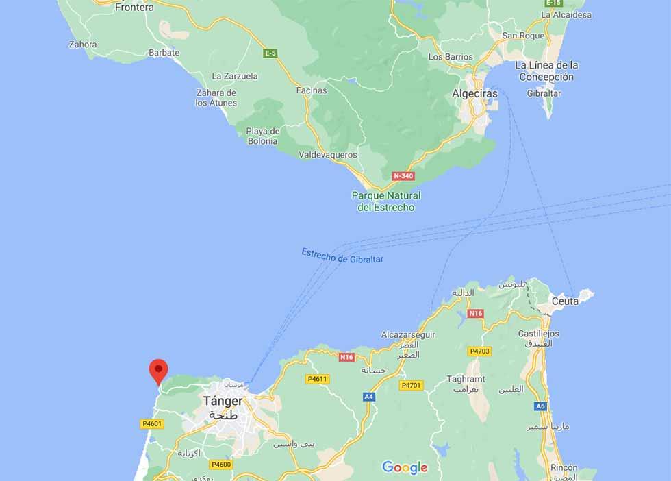 Mapa de situación de Cabo Espartel