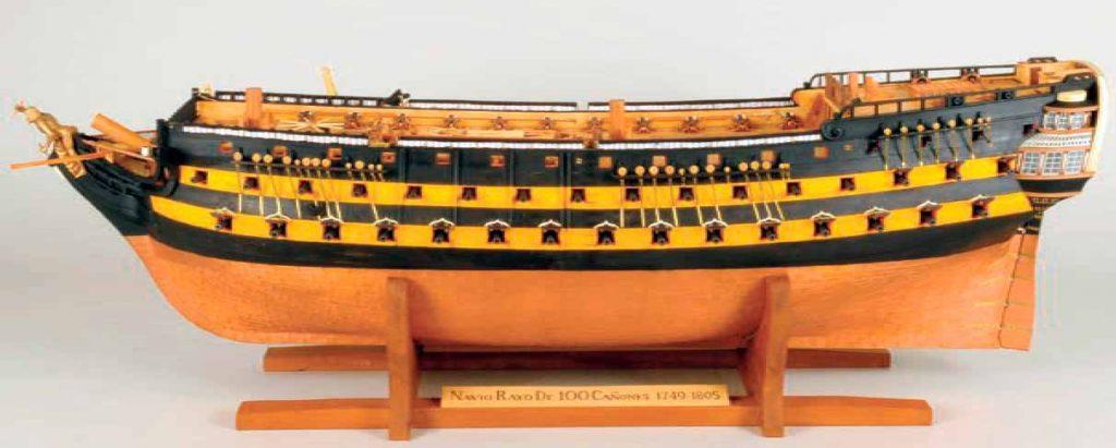Maqueta del navío Rayo con su porte de 100 cañones,