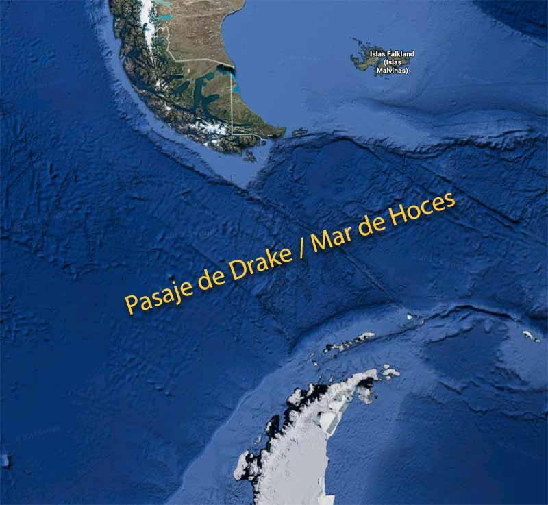 Mar de Hoces. Llamado Pasaje de Drake o Paso Drake por los anglosajones