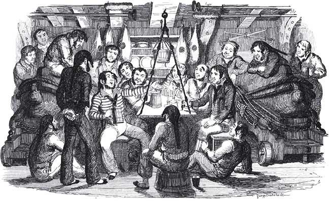 Marineros británicos cantando Spanish Ladies a bordo de un navío