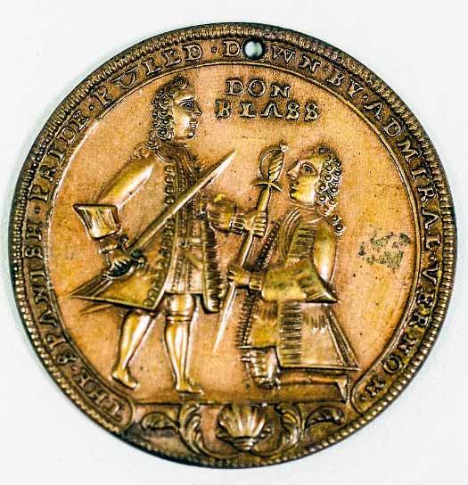 """Medalla conmemorativa sobre la """"victoria"""" de Vernon sobre Blas de Lezo"""