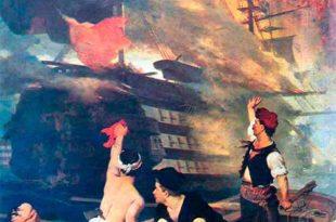 Destrucción de los navíos turcos en 1821 y 1822 por brulotes griegos
