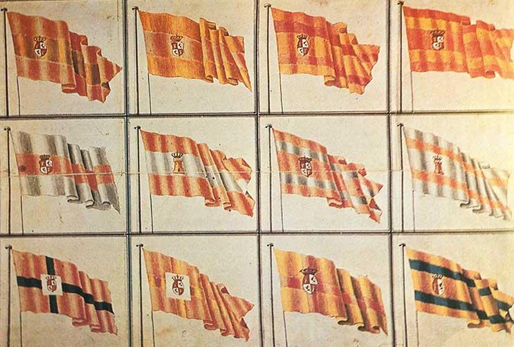 Modelos de diferentes banderas españolas del concurso