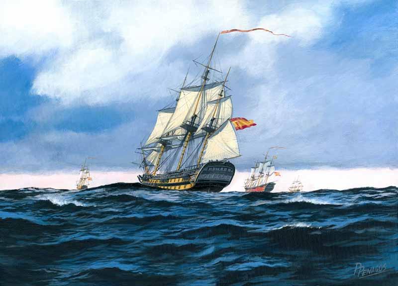 Motín en el navío San Juan Nepomuceno. Pintura de Carlos Parrilla