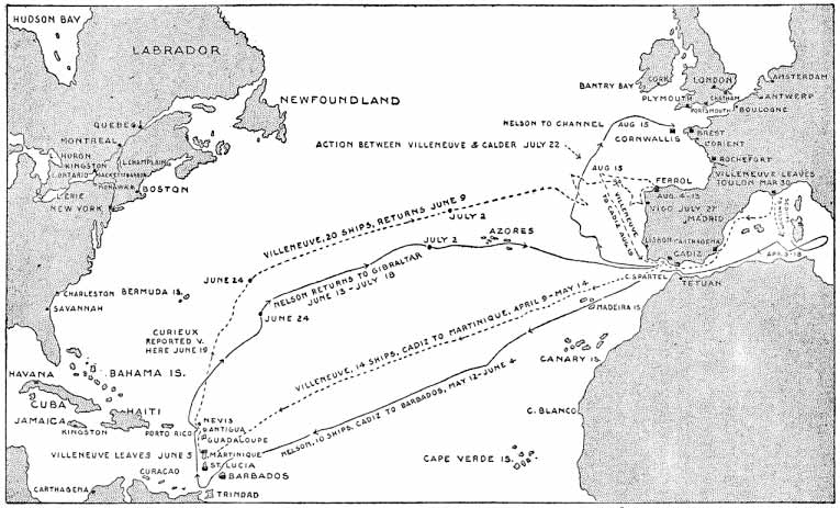 Derrota de las escuadras inglesa y combinada francoespañola hasta desembocar en el combate de Trafalgar.