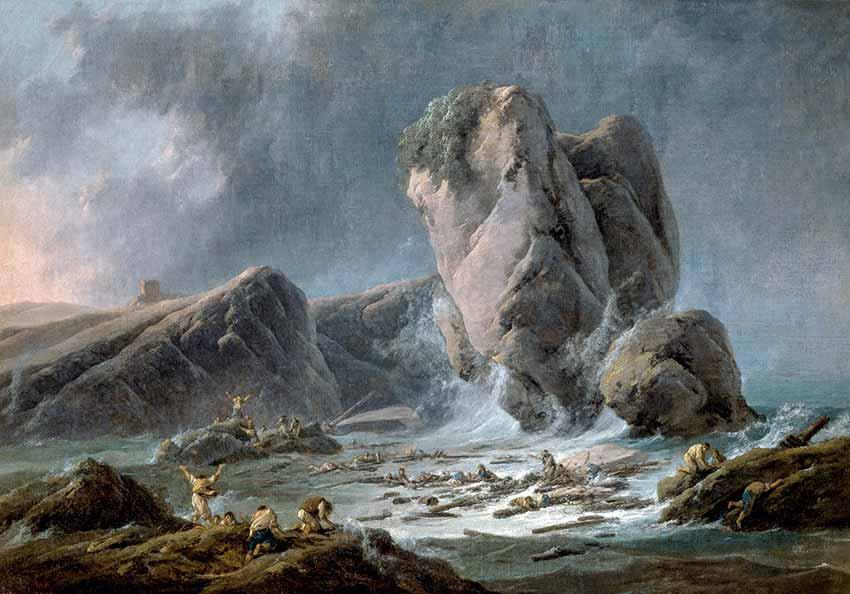 Naufragos llegando a la costa