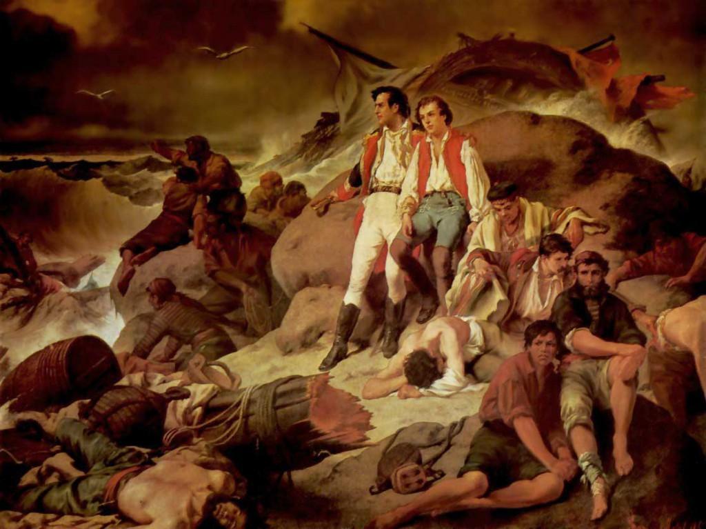 Marineros españoles naufragados en la batalla de Trafalgar