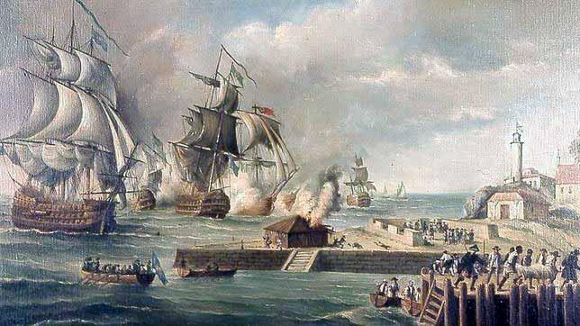 Ataque a Cartagena de Indias por los ingleses en 1741 donde se perdió al navío África, hundido por su propia dotación.