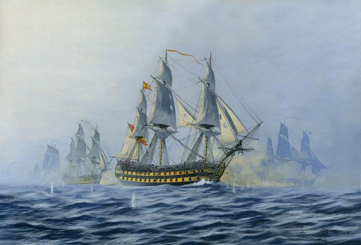 """""""Finisterre"""". Pintura de Carlos Parrilla sobre esta batalla, con el navío español Argonauta de 80 cañones en primer plano."""