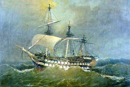 El navío Asia capeando un temporal. Pintura de Ángel Cortellini Sánchez. Museo Naval de Madrid.