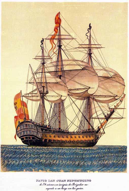 Navío de línea español con la bandera española que ganó el concurso