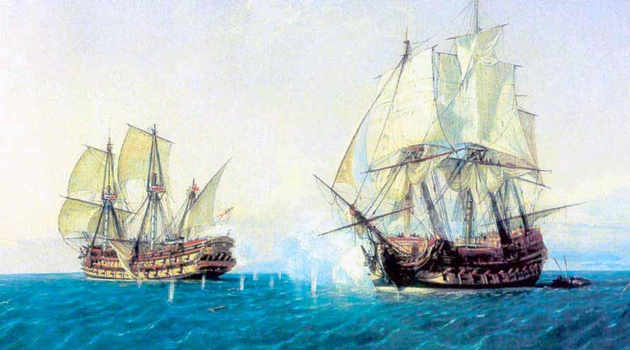 """Navío """"Catalán"""" de 66 cañones. Pintura de Rafael Monleón que representa el combate que sostuvo con el británico """"Mary"""". Foto del Museo Naval de Madrid"""