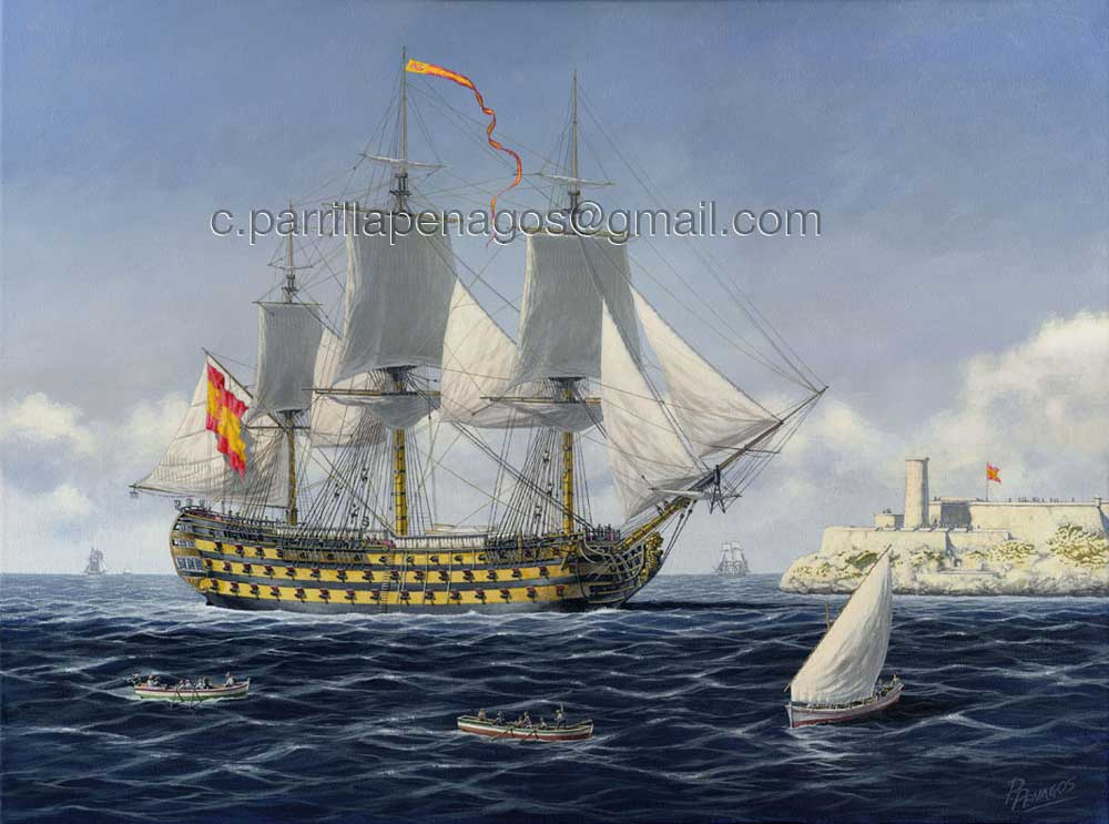 Navío Conde de Regla, de 112 cañones. Pintura de Carlos Parrilla. Esta era otra de las soberbias unidades que se pusieron a disposición de la Armada.