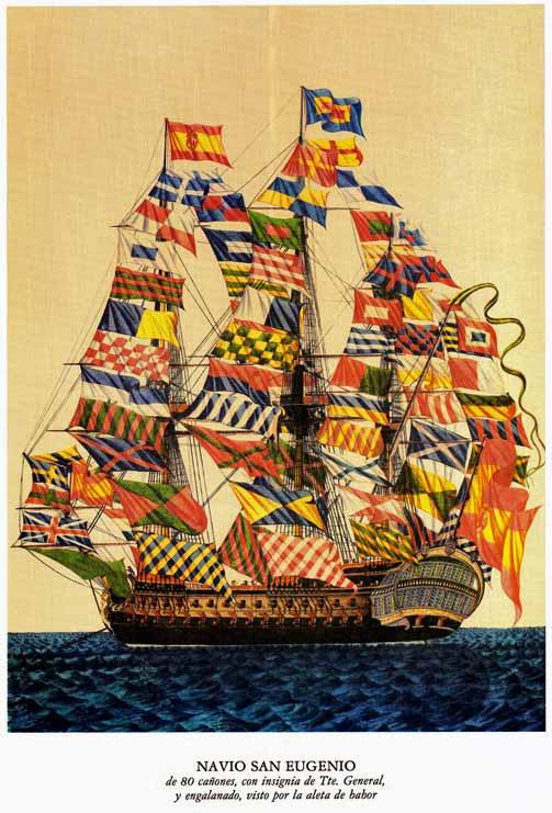 Navío español empavesado con banderas