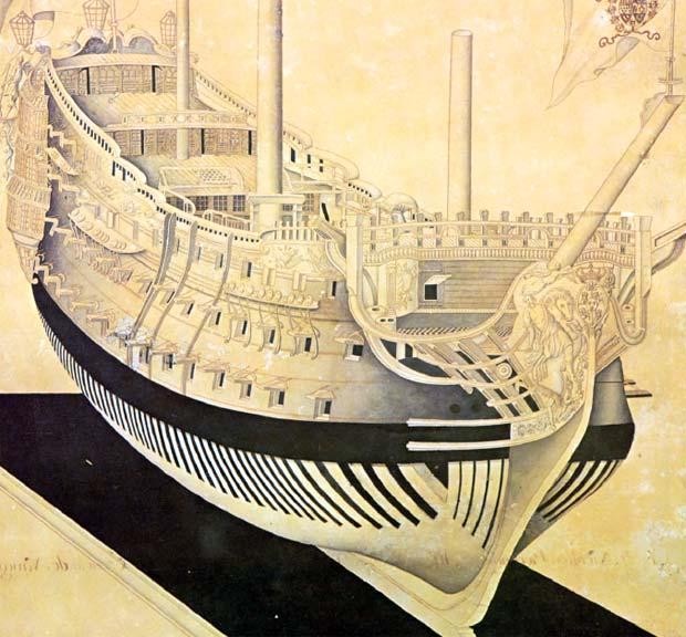 Ilustración de un proyecto de navío español de tres puentes de la primera mitad del siglo XVIII. Museo Naval Madrid