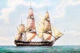 """""""La Flamand"""". Navío francés de 64 cañones, botado en 1765. Acuarela de Frederic Roux. En esta pintura podemos apreciar los foques a proa y otras velas de estay entre el trinquete y el mayor."""