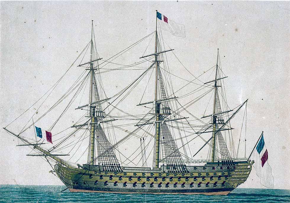 Navío de tres puentes Commerce de Marseille de 120 cañones.