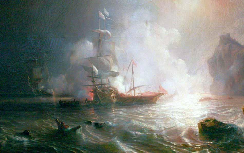 Navío de línea francés en combate contra dos galeras berberiscas.