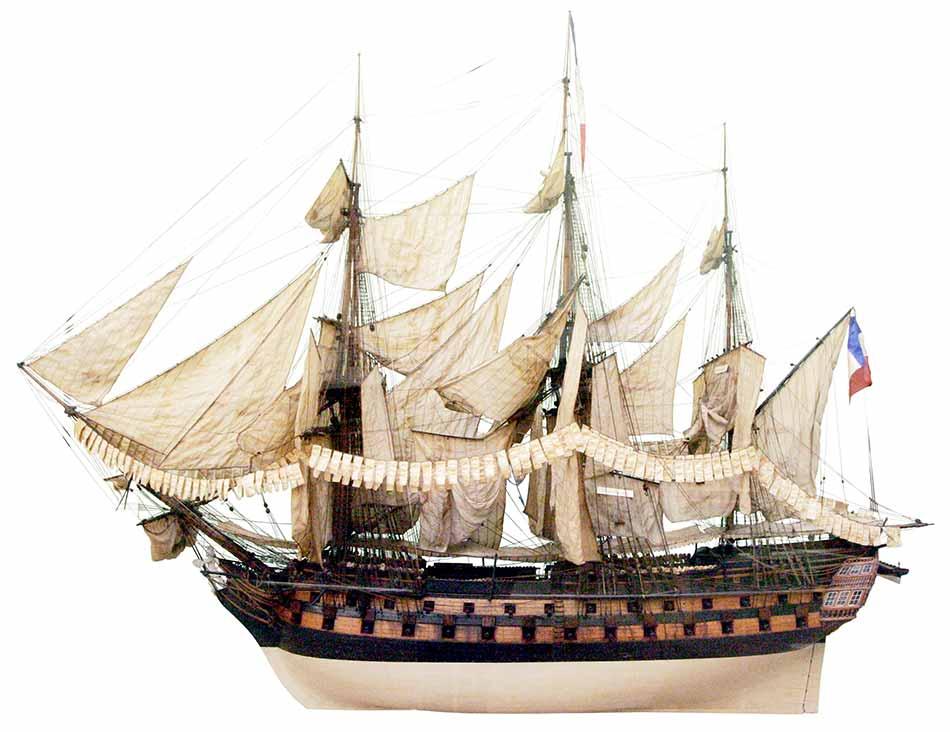 Modelo del navío francés Achille, de 74 cañones en 1805. Este era gemelo del navío Jemmapes