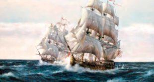 Navío Glorioso durante su segundo combate en el Cabo Finisterre