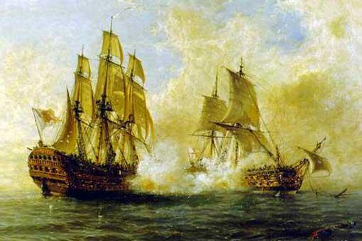 Navío Glorioso combatiendo contra el HMS Dartmouth