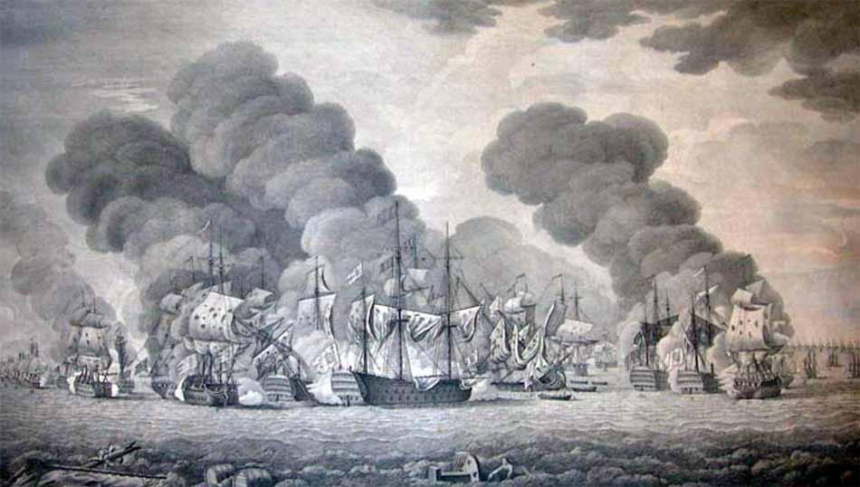 Navío Hércules en la batalla de Tolón, o Cabo Sicié, de 1744