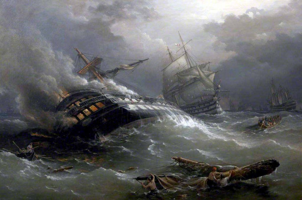 Navío hundido en la batalla de Trafalgar