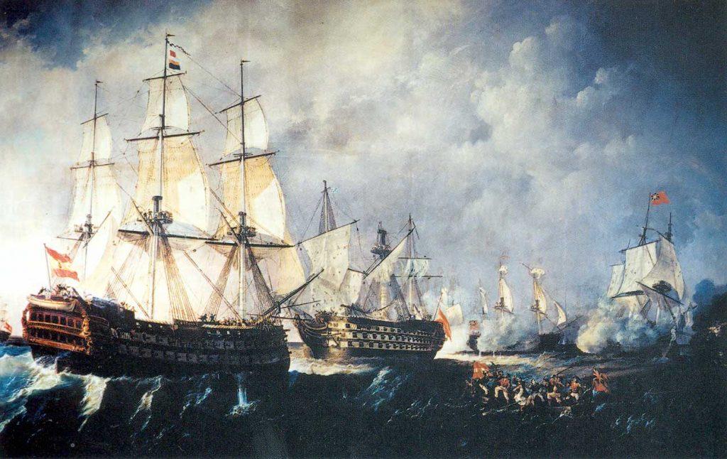 El navío Pelayo salvando al navío Santísima Trinidad durante el combate de San Vicente
