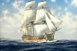 Pintura del navío de línea Reina, de Carlos Parrilla