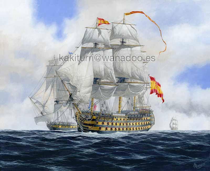 Navío de línea Reina Maria Luisa de 112 cañones apresando la fragata de guerra francesa Ifigenia en 1795