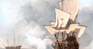 Navío del siglo XVII saludando