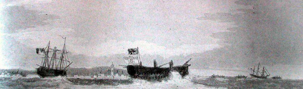Navío San Ildefonso remolcado por el HMS Defence tras la batalla de Trafalgar