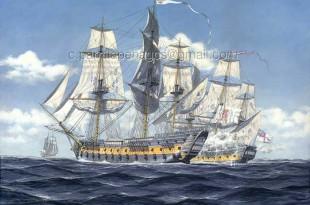 """El navío """"San Juan Nepomuceno"""" al costado de la fragata británica """"Clyde"""""""