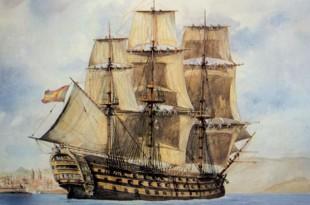 Navío de línea español entrando en El Ferrol