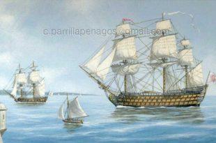 Navío Santísima Trinidad embocando la bahía. Pintura de Carlos Parrilla