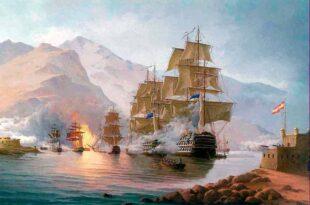 Ataque de la escuadra británica a Tenerife. Pintura de Esteban Arriaga.