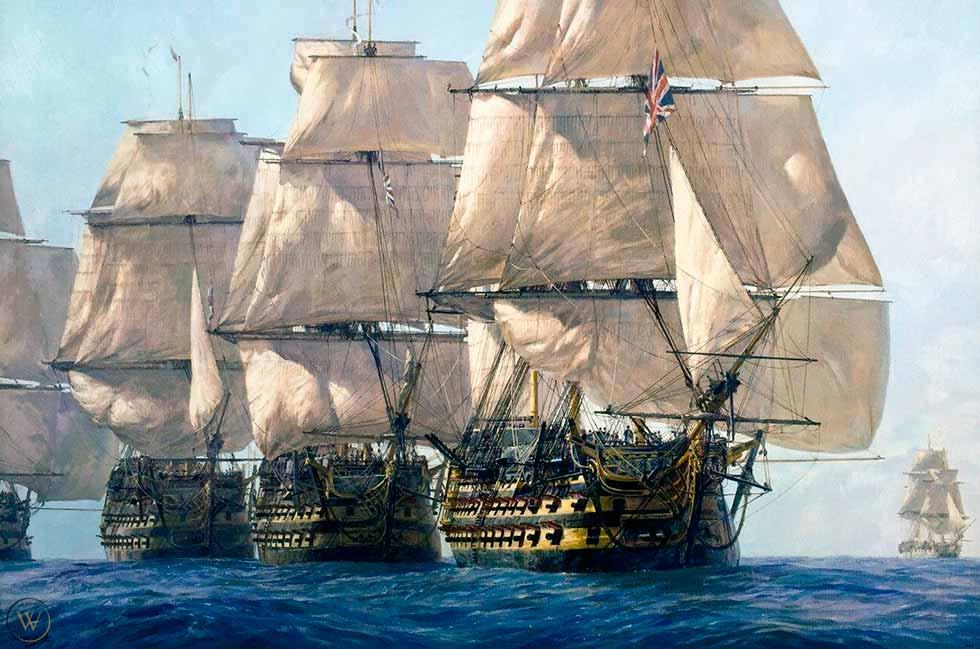 Los HMS Victory, HMS Temeraire y HMS Neptune lideran la columna de Nelson hacia la flota combinada, frente al Cabo Trafalgar, el 21 de octubre de 1805.