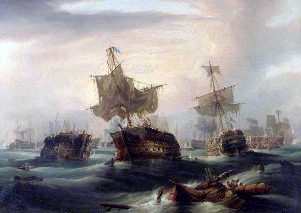 Navíos tras el combate de Trafalgar.