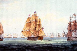 Los navíos Victory y Temeraire aproximándose a la escuadra franco española.