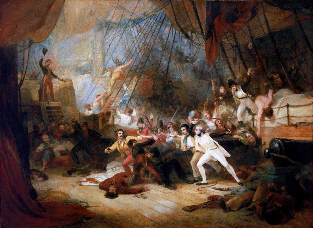 Nelson aborda el navío San José en la batalla del Cabo de San Vicente de 1797