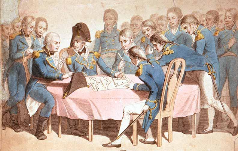 Nelson explicando su plan de ataque a sus oficiales