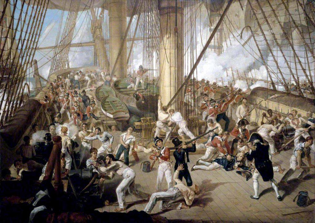 La caída de Nelson en la batalla de Trafalgar